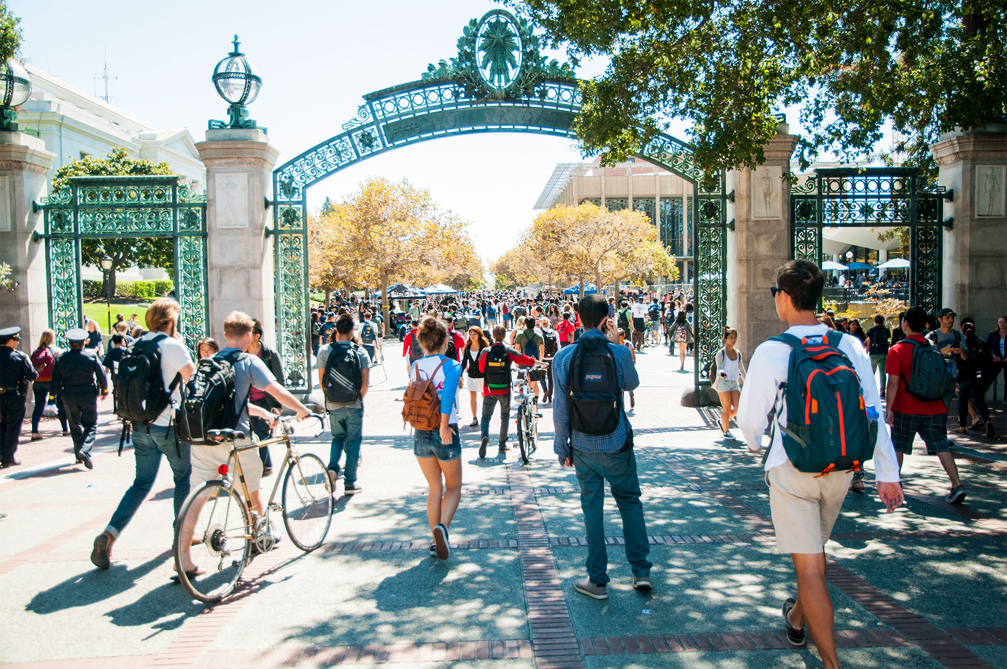 Students walking under Sather gate on the Berkeley campus