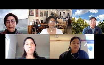 Screenshot of five speakers in anti-AAPI racism event